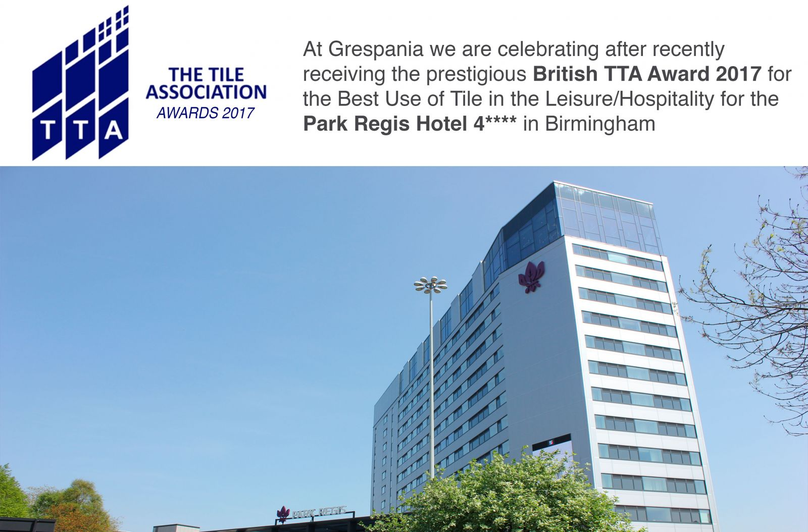 grespania awarded with the tta awards for the best use of tiles in
