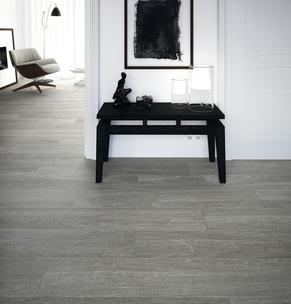 Wood Effect Porcelain Floor Tiles - Ebano-furniture-bathroom-with-wood-effect